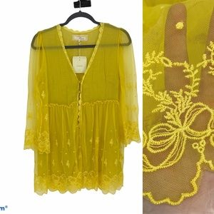 A'reve Anthropologie Lace Crochet Tunic Top Boho